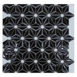 Керамическая мозаика - Flowers Black - 290*300 мм