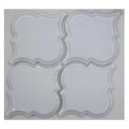 Керамическая мозаика - Porcelain Arabesko Bevel White 160 - 218*218 мм