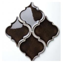 Керамическая мозаика - Porcelain Arabesko Crackle Brown 160 - 218*218 мм
